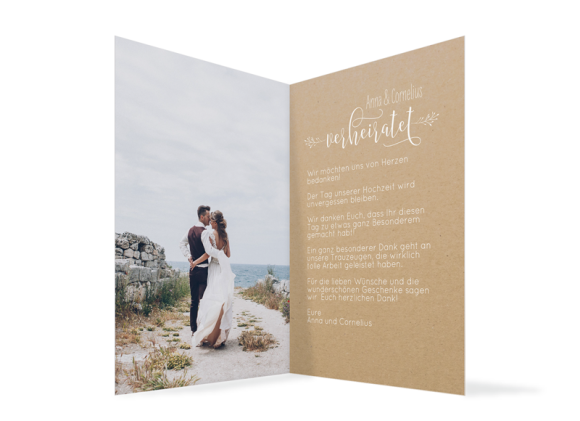 Danksagungskarten Hochzeit (Klappkarte A6, Kraftpapier, ein Foto), Motiv: HD Blumenkranz natural, Innenansicht, Farbvariante: weiss