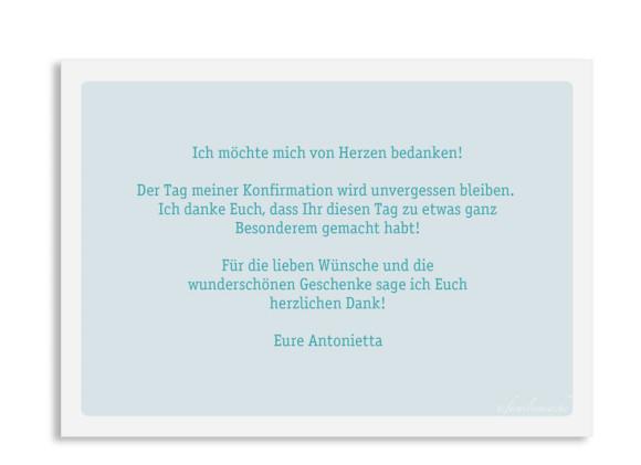 Konfirmationsdanksagung (Postkarte mit Foto), Motiv: Lucia / Luca, Rückseite, Farbvariante: eisblau