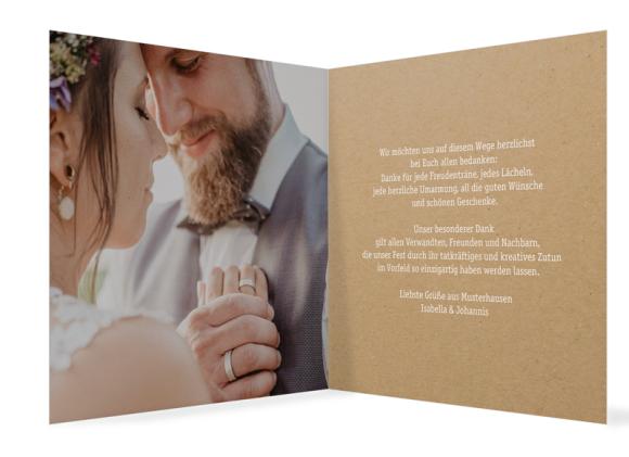 Hochzeitsdanksagung (Klappkarte quadr.), Motiv: Gent Natural, Innenansicht, Farbvariante: weiss