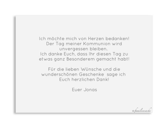 Kommunion Danksagung als Postkarte A6 mit Foto, Motiv: Ausblick KOM, Rückseite, Farbvariante: grau