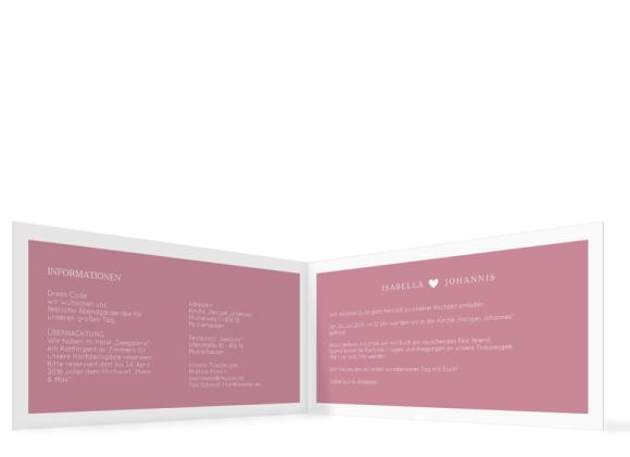 Einladungskarte zur Hochzeit (Klappkarte DL), Motiv: Porto, Innenansicht, Farbvariante: Altrosa