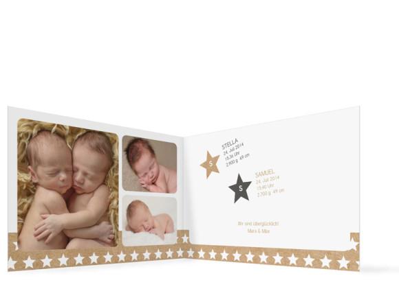 Zwillingskarte zur Geburt, Motiv Stella/Samuel, Innenansicht, Farbversion: grau