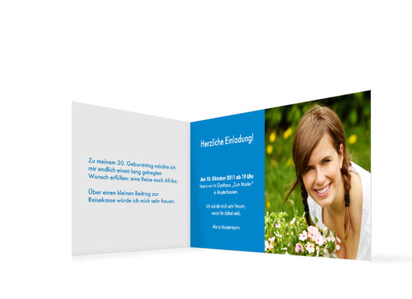 Innenansicht, Einladungs-Klappkarte zum Geburtstag (Format DIN Lang), Motiv Go Round, Farbversion: blau