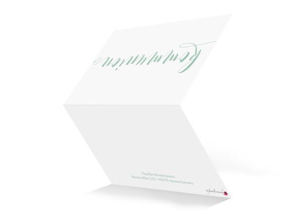 Einladungskarten zur Kommunion Calligraphy, Außenansicht in Pistazie