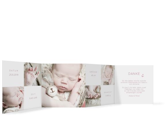 Babykarte (Leporello), Motiv: Antonia/Alexander, Rückseite, Farbvariante: altrosa