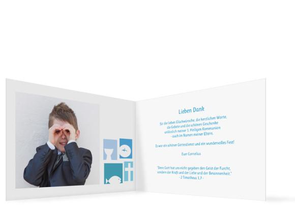 Kommunionsdanksagung Cora/Cornelius , Innenansicht der Farbversion: blau