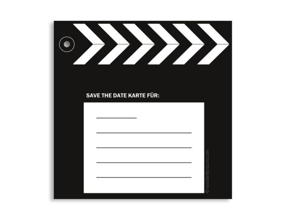 Rückseite, Einladungs-Postkarte zur Hochzeit, Motiv Hollywood, Farbversion: schwarz