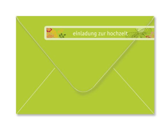 Umschlag Rückseite, Adressbanderole, Motiv Schmetterlinge, Farbversion: apfelgrün