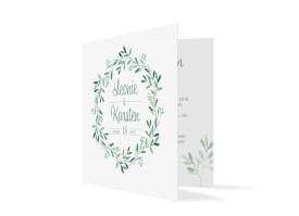 Hochzeitseinladung Blätterkranz Grün