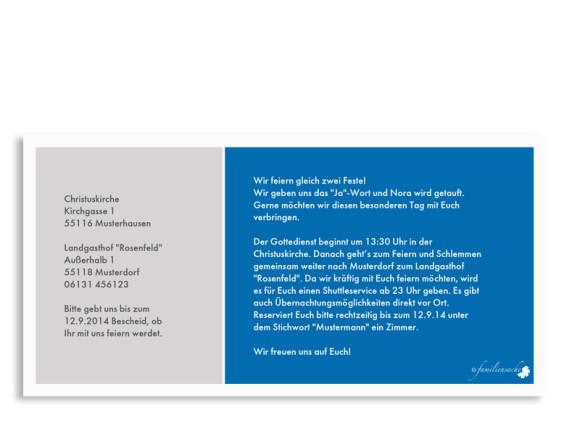 Einladungen zur Taufe & Hochzeit Athen, Rückseite der Farbversion: blau