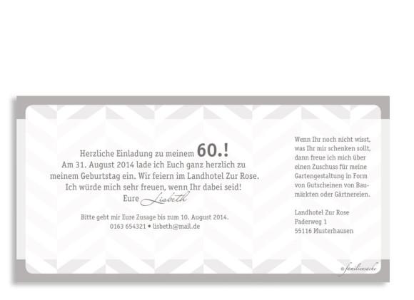 Einladungskarten Pattern, Rückseite der Farbversion: beige