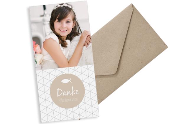 Kommunionsdanksagung (Postkarte DL hoch, ein Foto), Motiv: Segen, mit Briefhülle, Farbvariante: beige