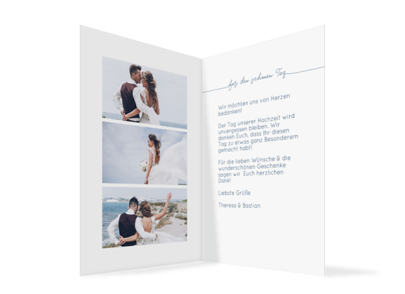 Dankeskarte zur Hochzeit als Klappkarte A6, Motiv: Warschau D, Innenansicht, Farbvariante: dunkelblau