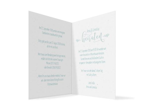 Einladung zur Hochzeit Blumenkranz, Klappkarte A6 hoch, Innenansicht in türkis