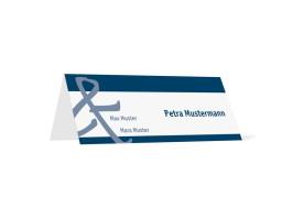 Tischkarten zur Hochzeit Bern (Klappkärtchen quer) Blau