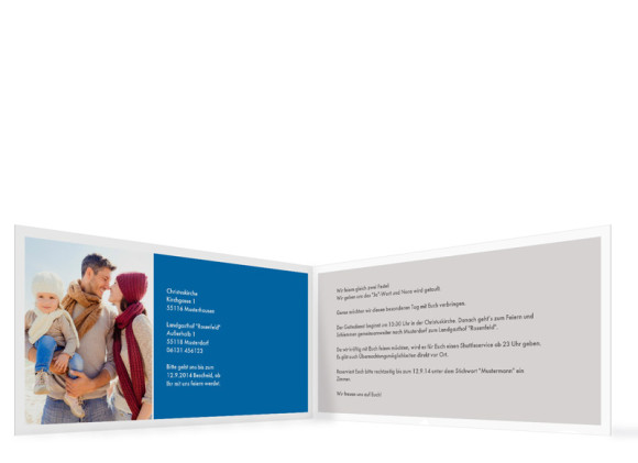 Einladung zur Taufe & Hochzeit, Motiv Athen, Innenansicht, Farbversion: blau