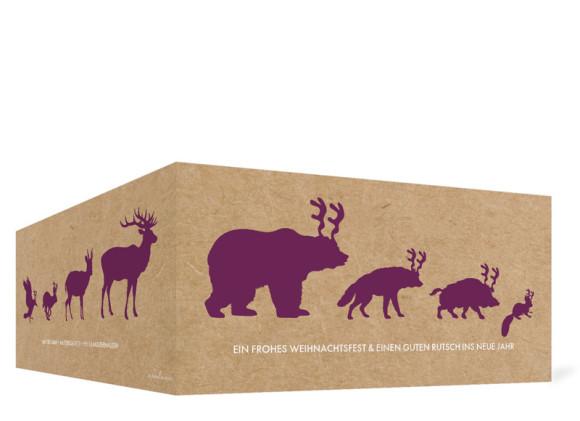 Firmen-Weihnachtskarte Waldtiere (Klappkarte), Außenansicht in der Farbversion: brombeer