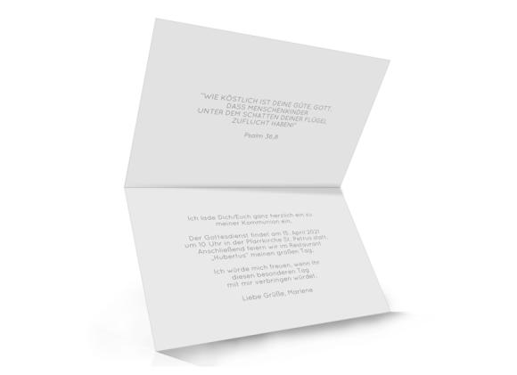 Kommunion (Kartenformat Klappkarte C6 quer), Motiv: Kraftvoll, Innenansicht, Farbvariante: weiss