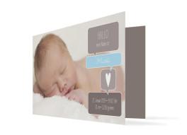 Geburtskarte Mathilda/Matteo (Klappkarte mit drei Fotos)