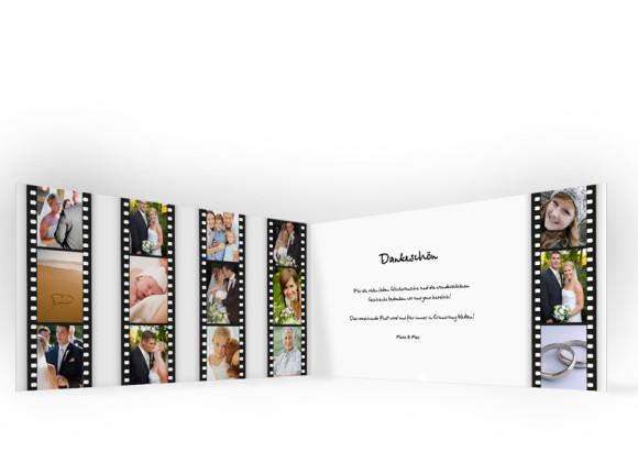 Innenansicht, Danksagungs-Klappkarte zur Hochzeit (Format DIN Lang), Motiv Hollywood, Farbversion: schwarz-weiß
