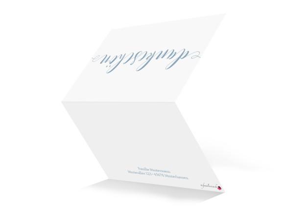 Danksagung zur Kommunion Calligraphy, Außenansicht in Petrol