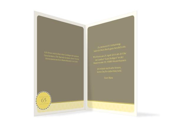 Innenansicht, Einladungen Anniversary, Farbversion: gelb