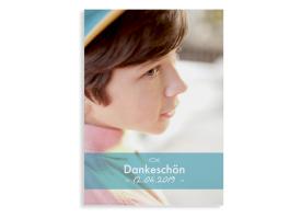 "Danksagung Konfirmation ""Blickfang"" (Postkarte hoch mit Foto) hellblau"