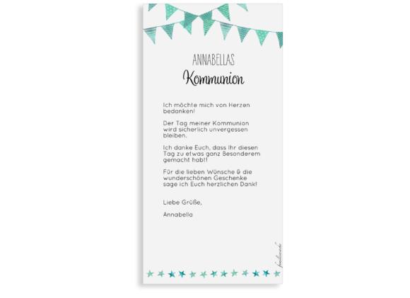 Danksagung zur Kommunion (Postkarte DL hochformat mit Foto), Motiv: Stimmung, Rückseite, Farbvariante: gruen