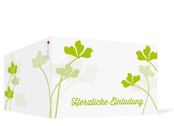 Einladungskarten Growing Fresh ohne Foto, Außenansicht der Farbversion: grün