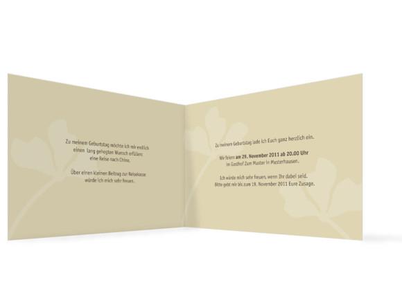 Innenansicht, Geburtstagseinladung, Motiv Growing, Farbversion: beige