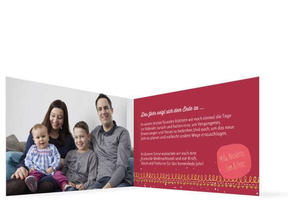Weihnachtsgrußkarten Mistelzweig mit Bild, Innenansicht in Rot