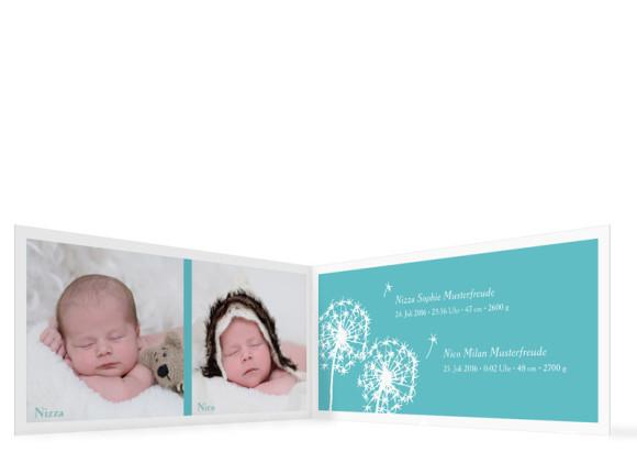Zwillingskarten zur Geburt Nizza/Nico, innenansicht türkis