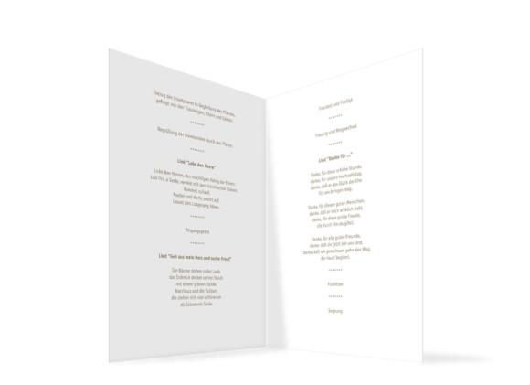 Innenansicht, Klappkarte zur Hochzeit (Kirchenheft), Motiv Prag, Farbversion: beige