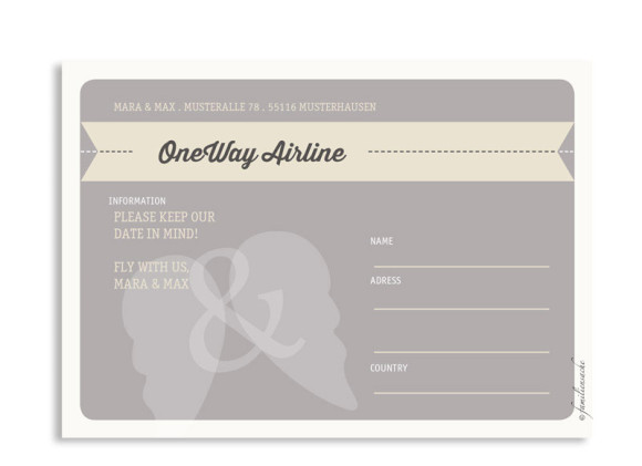 Save-The-Date Flugticket, Rückseite der Farbversion: beige