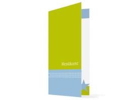 Menükarten Hochzeit New York (Klappkarte, hochkant) Blau/Grün