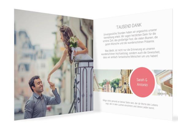 Hochzeit Danksagungskarten Circle, Innenansicht in Pfirsich