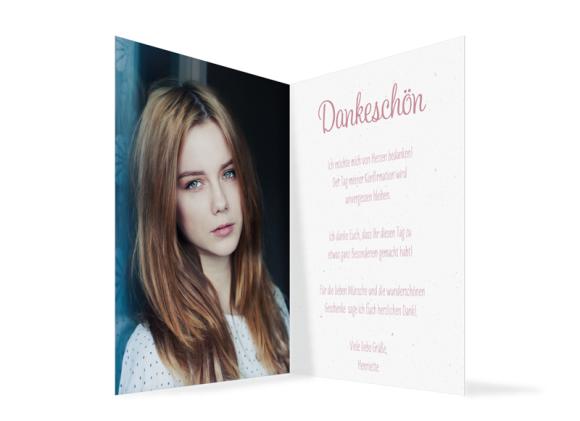 Dankeskarte zur Konfirmation (Klappkarte A6 Hochformat mit Fotos), Motiv: Henriette/Henry, Innenansicht, Farbvariante: altrosa