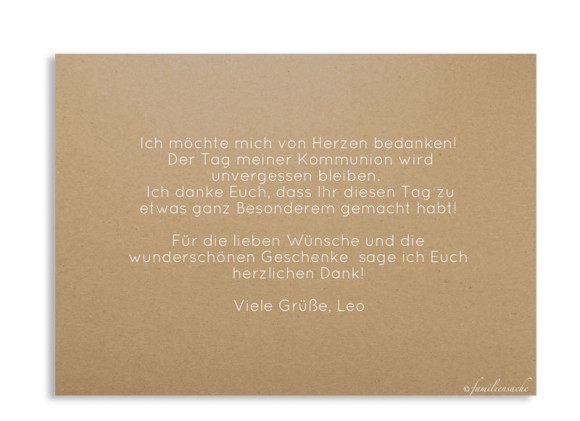 Kommunionsdanksagung (Postkarte ohne Foto), Motiv: Zweig Natural, Rückseite, Farbvariante: weiss