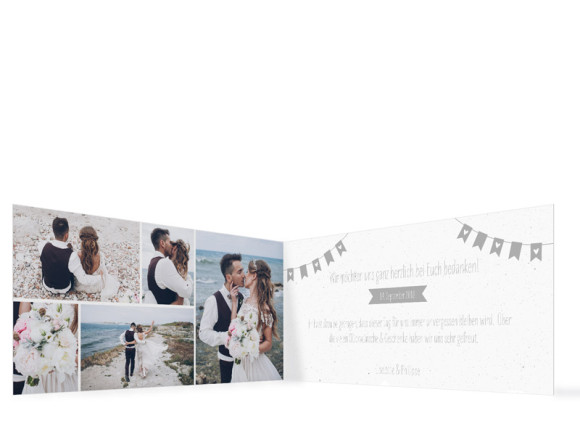 Danksagung zur Hochzeit, Motiv: Wimpelkette, Innenansicht, Farbvariante: Grau