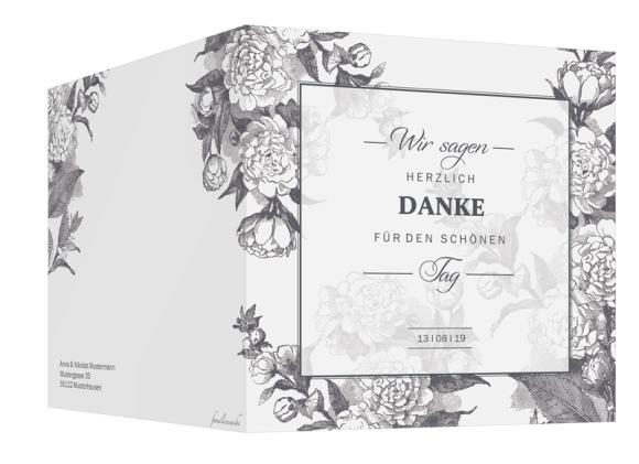 Hochzeitsdanksagungen (quadratische Klappkarte mit Foto), Motiv: Bukarest, Aussenansicht, Farbvariante: anthrazit