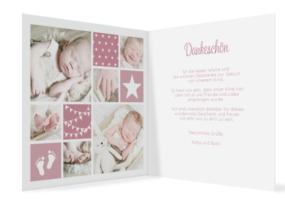Geburtskarten mit vielen Fotos (Klappkarte, quadratisch), Motiv: Laguna/Leandro, Innenansicht, Farbvariante: altrosa