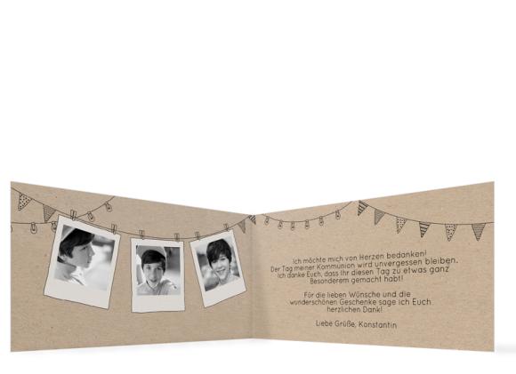 Dankeskarte zur Kommunion (Klappkarte mit Foto), Motiv: Wimpelchen, Innenansicht, Farbvariante: schwarz