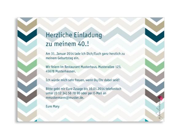 Einladung zum 40. Geburtstag, Motiv ZigZag, Rückseite, Farbvariante: blau
