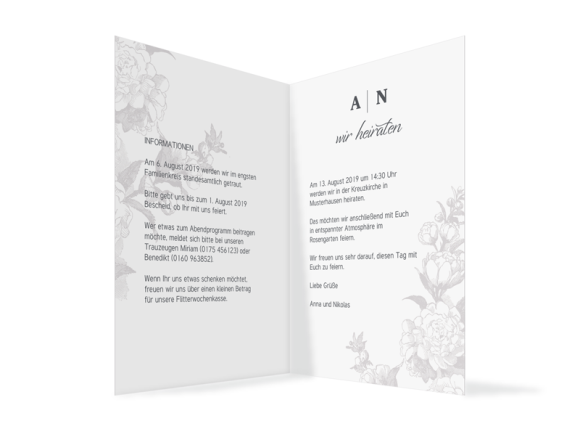 Hochzeitseinladung (Klappkarte A6, ohne Foto), Motiv: Bukarest, Innenansicht, Farbvariante: Anthrazit