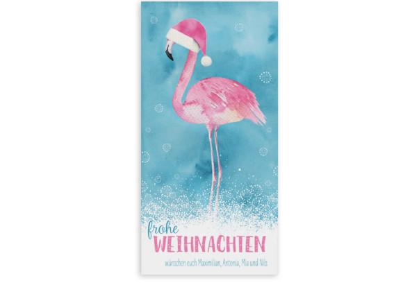 Weihnachtsgrußkarte Flamingo