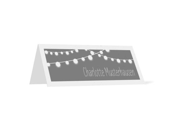Tischkarten (personalisiert mit Namen), Motiv: Lichterkette, Rückseite, Farbvariante: grau