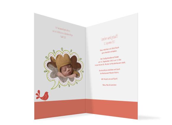 Einladung zur Taufe, Motiv: Lenchen/Lenhard, Innenansicht, Farbversion: apricot