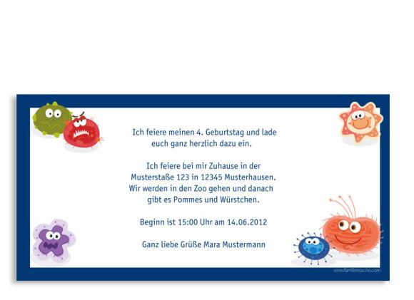 Rückseite, Einladungs-Postkarte zum Geburtstag, Motiv Monster, Farbversion: blau