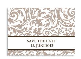 Save-The-Date-Hochzeitskarte Rokko Weiß (Postkarte A6) Beige