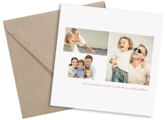 Weihnachtskarte Pure White, quadratische Postkarte in apricot